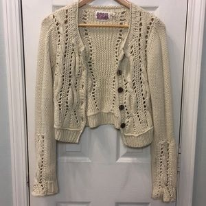 Anthropologie Rosne Netra ivory cable cardigan Med